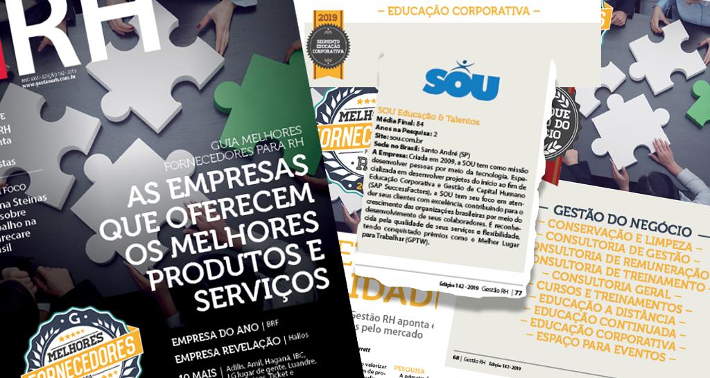 """SOU recebe o prêmio """"Melhores Fornecedores para RH 2019"""""""